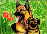 Bhagavathy-Raja-Artwork-Dog-and-Puppy-Painting