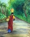 Deepika-Artwork-7-Lady-with-Pot-Painting