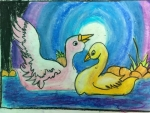 Kaneena-Jain-Artwork-4-Swans-Oil-Pastel-Painting