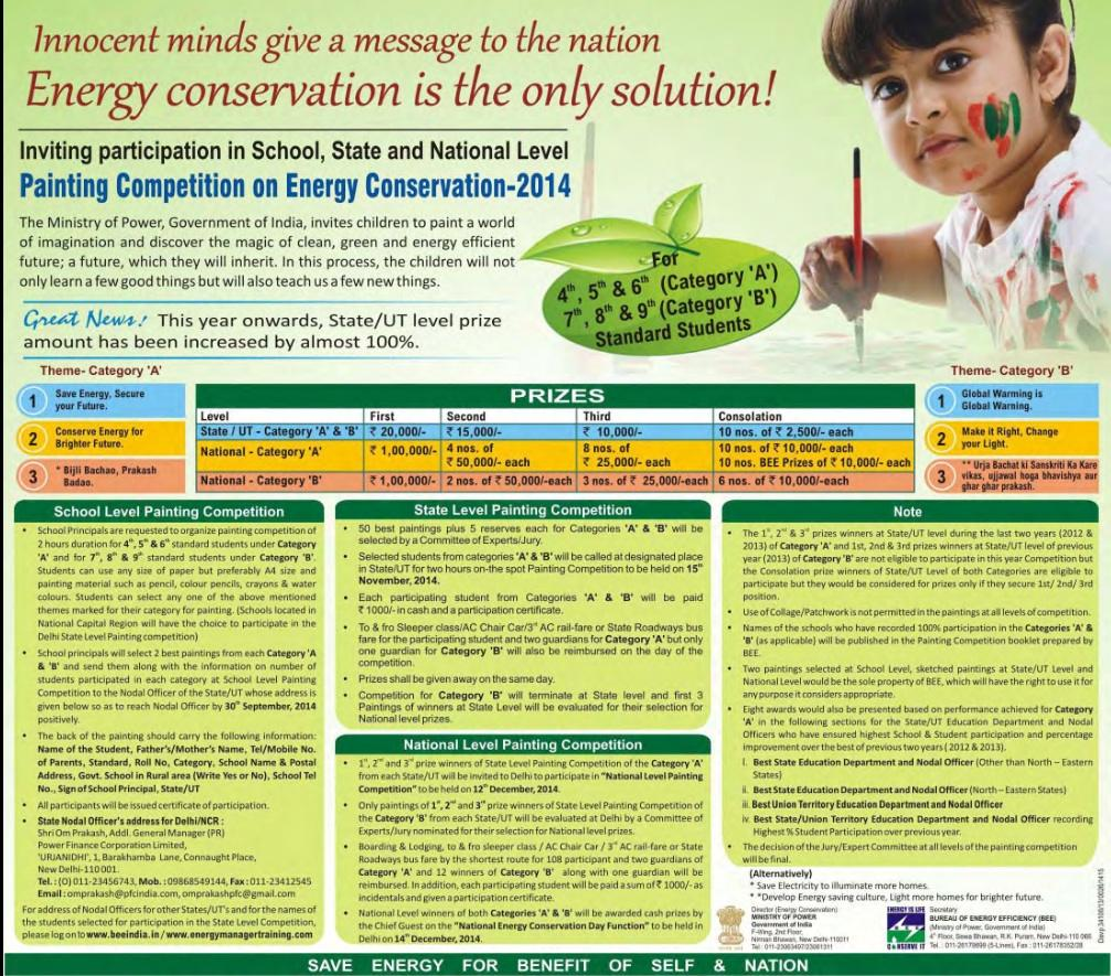 painting competition on energy conservation kids contests bee energy conservation painting competition 2014