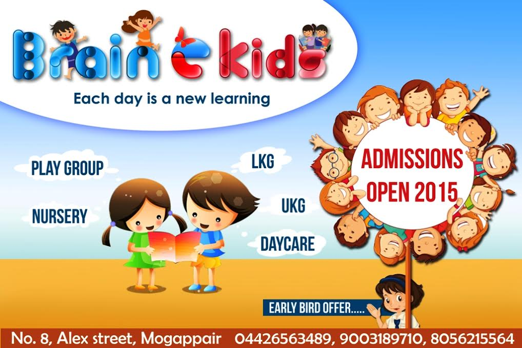 Admissions Open @ Brain e Kids, An Innovative Preschool in Mogappair