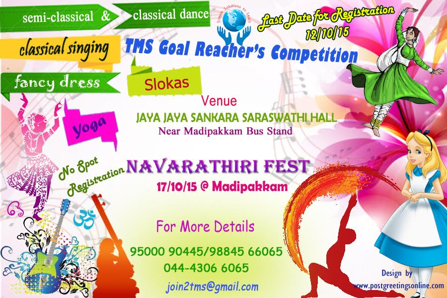 Navarathiri Fest Competition by TMS Yoga & Art's Centre at Madipakkam