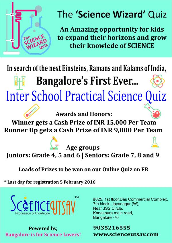 PRACTICAL SCIENCE QUIZ COMPETITION 2015-16 in Bangalore