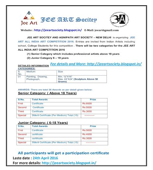 JEE ART ALL INDIA ART COMPETITION 2016 – Kids Contests