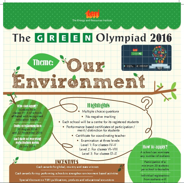 THE CBSE – TERI GREEN OLYMPIAD – 2016