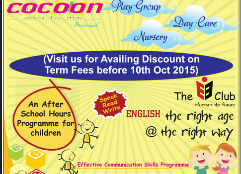 VIJAYADASAMI Admissions Opens for Preschool & Day Care @ The COCOON Preschool