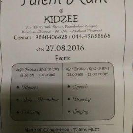 Talent Hunt @ Kidzee Poompuhar Nagar, Kolathur