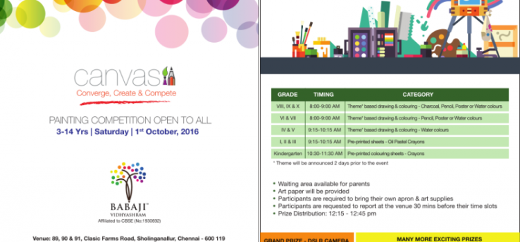 CANVAS – 2016 – Painting Competition for Students 3 – 14 Years on Oct 1