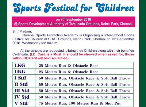 Sports' Festival for Children Organized by CSPA on September 7