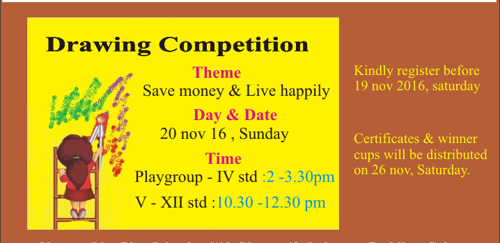 Drawing Competition @Ojas  Play School , Chennai on Nov 20, 2016