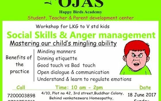 """Social Skills & Anger Management "" Workshop for LKG to V Std Kids"