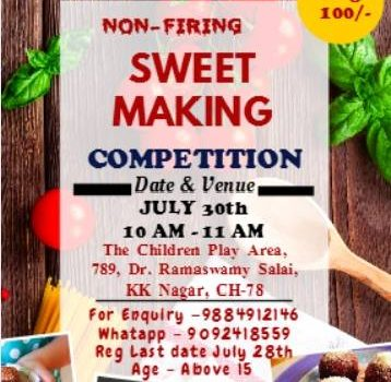 Cookery Competition for ages 15 years and above