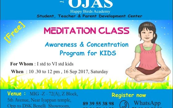 Free meditation class for kids @ Ojas