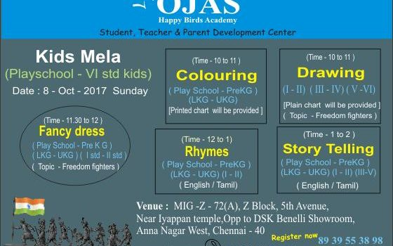 """Kids Mela"" on 8 Oct 2017 at Ojas Birds Academy"