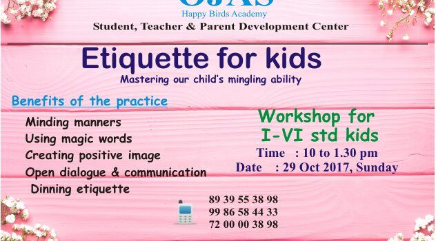 "29 Oct 2017, Kids Workshop "" ETIQUETTE FOR KIDS"""