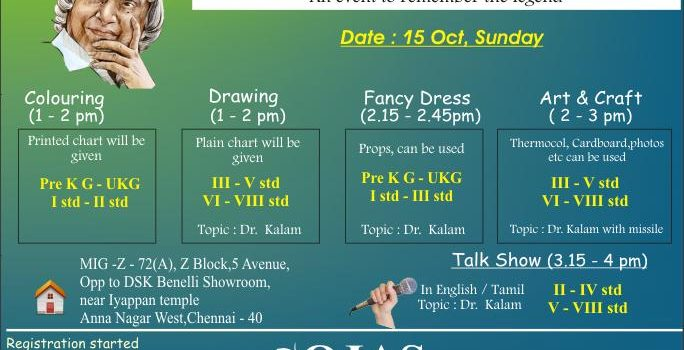 """Remembering Dr.Abdul Kalam""  Event on 15th Oct- 17(Sunday)"