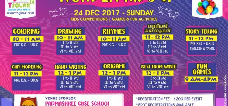 Wonder Kids'17- Kids Competition on 24 DEC 2017