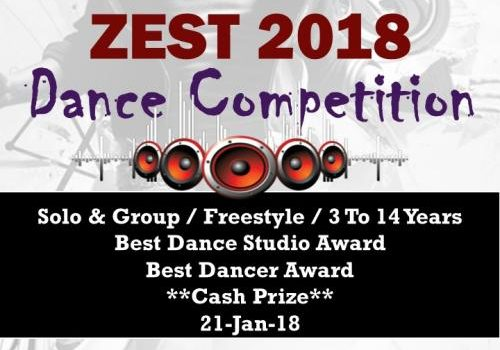 Zest 2018 – Solo & Group Dance Competition – 21-Jan-18