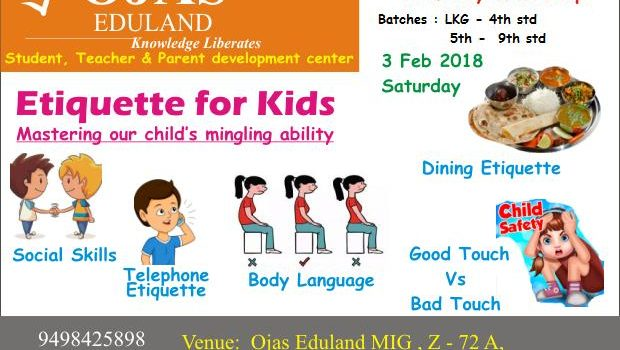Kids Workshop : Etiquette for Kids 03 – Feb -2018, Saturday