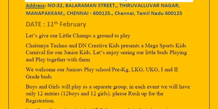 KIDS SPORTS EVENT ON 11th FEBRUARY 2018