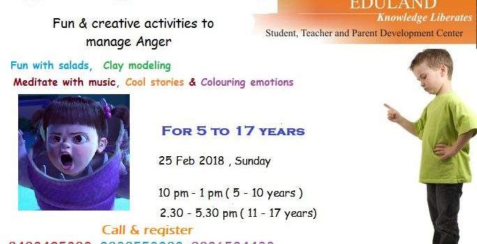 Anger Management Workshop on 25 Feb 2018, Sunday at Ojas Eduland