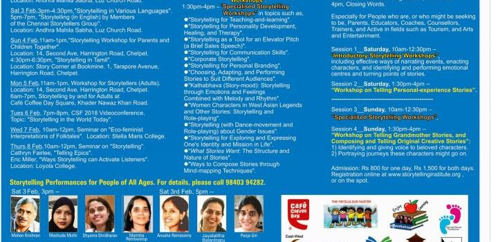 Chennai Storytelling Festival 2018 – 6th edition