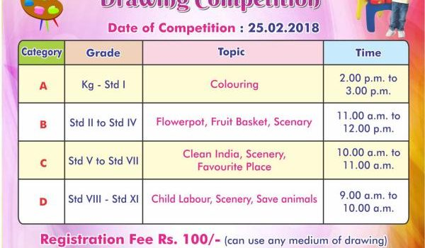 Drawing Competition for Classes Pre KG to 11th Std