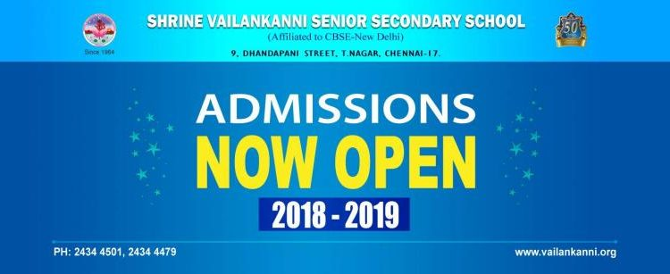 Shrine Vailankanni Senior Secondary School, T.Nagar Admission 2018-19