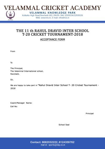 Invitation For Corporate Cricket Tournament: 11th RAHUL DRAVID INTER-SCHOOL T-20 CRICKET TOURNAMENT