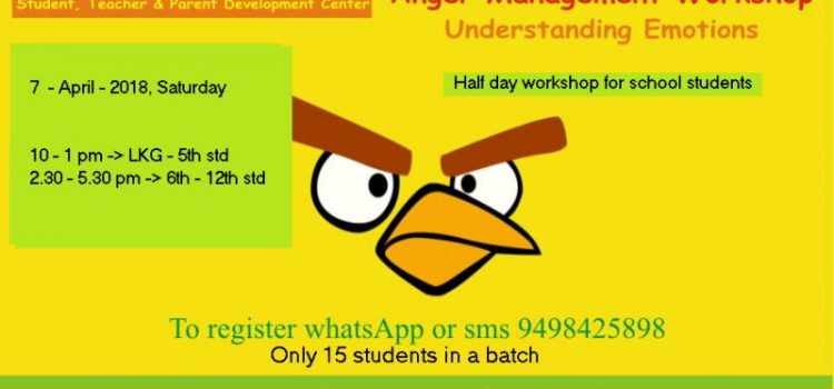 Anger Management Workshop for School Students on April 7, 2018