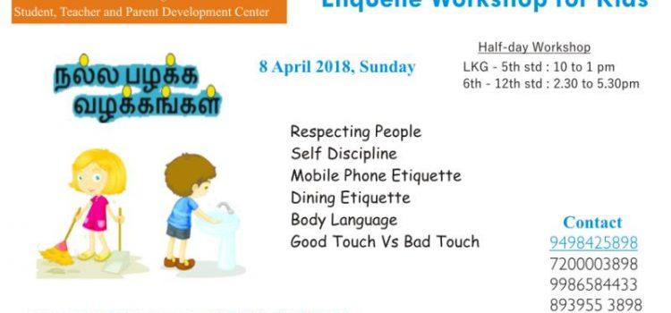 """"""" Good Habits & Manners – Etiquette workshop for kids on April 8"""