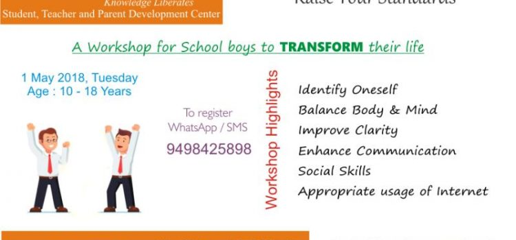 Workshop for 10 – 18 years boys on 1 May 2018