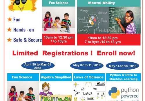 Science, Math and Programming Summer camps – April 16 to May 19 for kids 7 to 17 years