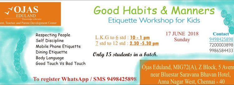 Good Habits & Manners- Etiquette Workshop on 17th June 2018