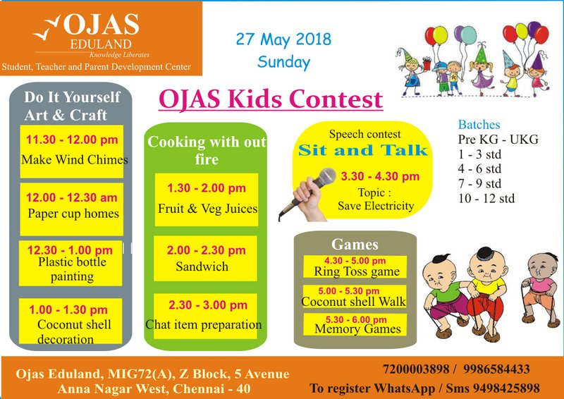 Kid S Competition On 27 May 2018 Sunday At Ojas Eduland Kids Contests