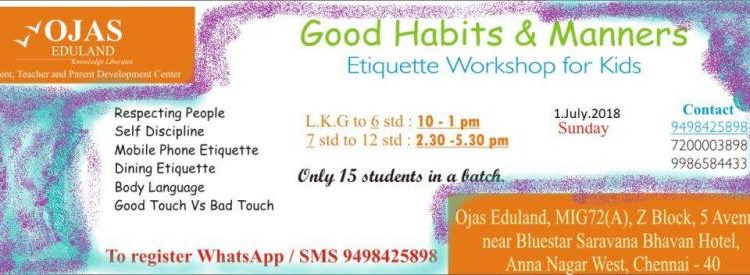 1 July 2018 – Good Habits and Manners Workshop for Kids