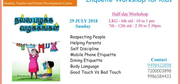 Good Habits & Manners- Etiquette Workshop on 29 July, 2018