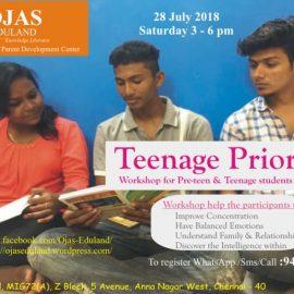 Workshop on 28 July 2018 : Teenage Priorities