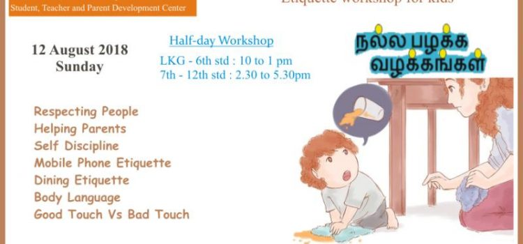 Good Habits and Manners – Etiquette Workshop for kids on Aug 12, 2018