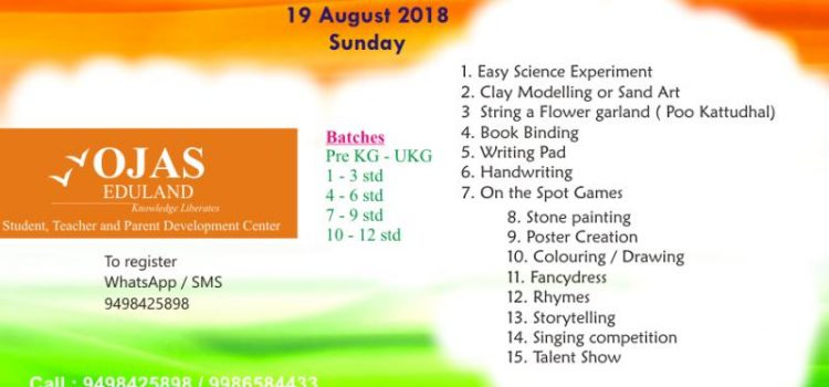 Ojas Eduland Kid's Competition on 19th August 2018, Sunday