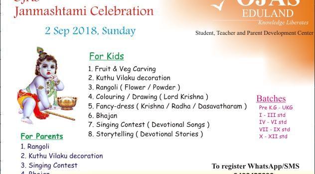 Janmashtami Celebration for kids and Parents on 2nd Sep 2018 at Ojas Eduland
