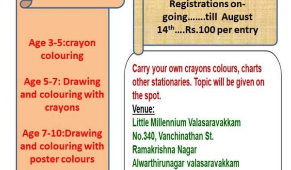 Drawing & Colouring Competition at Little Millennium, Valasaravakkam