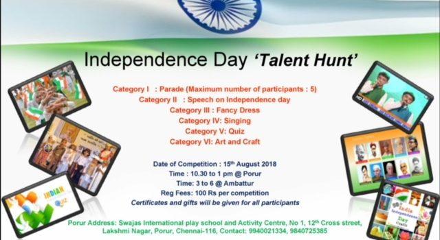 Swajas Independence Day Celebration 2018 Talent hunt