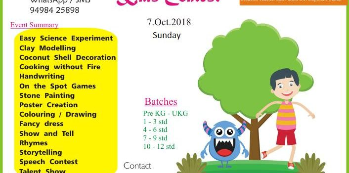 Ojas Eduland conducts Kid's Competitionon7th Oct 2018, Sunday