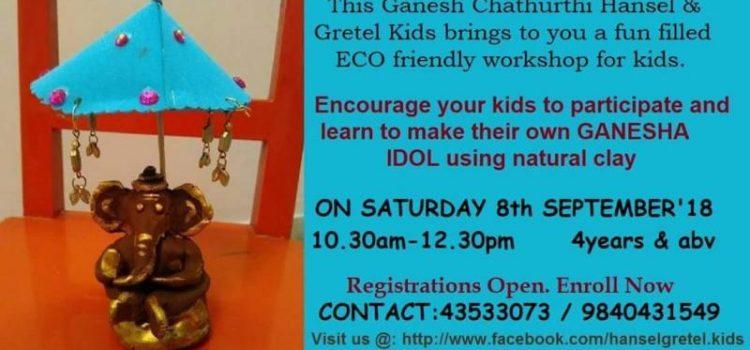 Clay Ganesha workshop at Hansel and Gretel kids