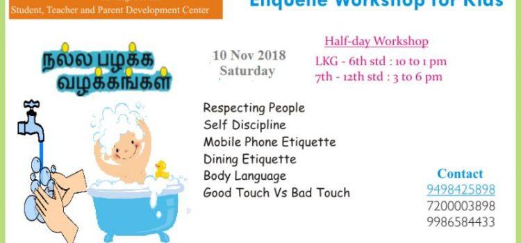 Good Habits & Manners- Etiquette Workshop on 10th Nov 2018