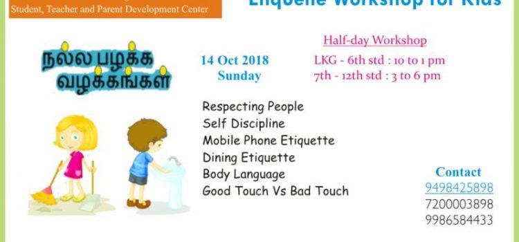 Good Habits & Manners- Etiquette workshop on Oct 14, 2018