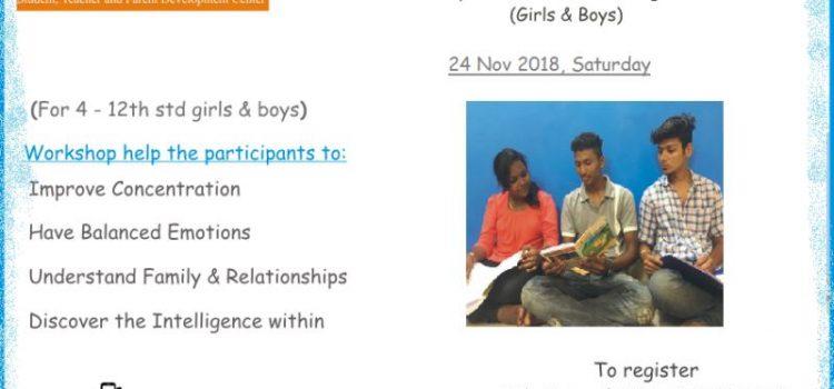 Teenage Priorities: Workshop for Pre-teen & Teenage students on 24 Nov 2018