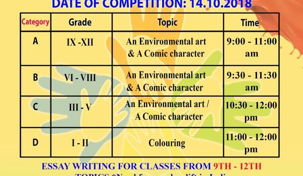 Drawing and Essay Writing Competition at Muhil Play School