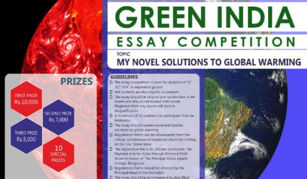 6th National Green India Essay Competition for 11th & 12th Students by Kristu Jayanti College